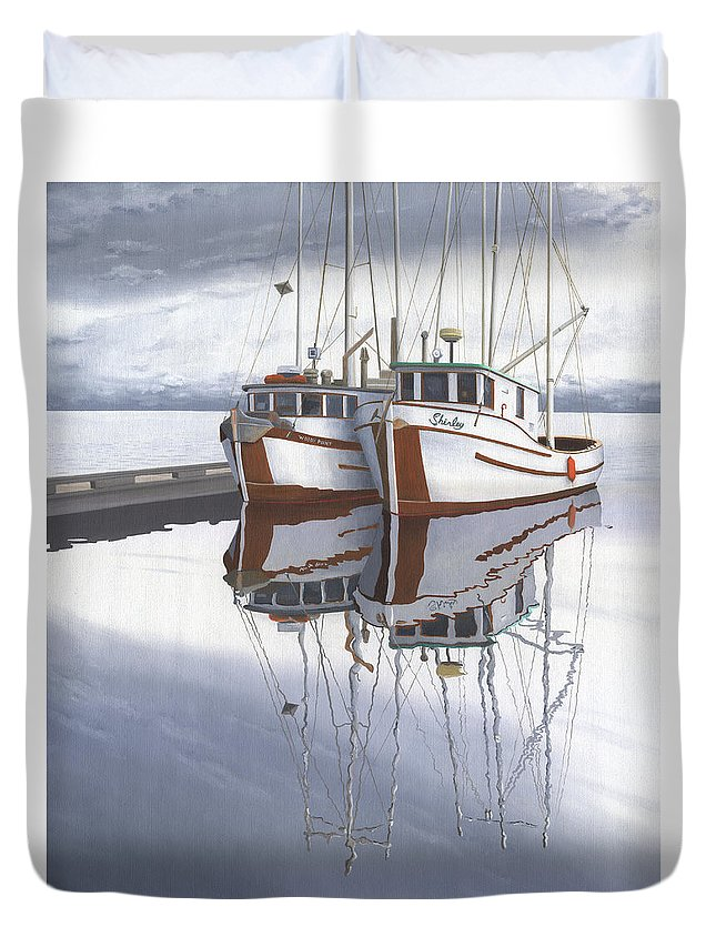 Fishing Boat Duvet Cover featuring the painting Powell River fishing boats by Gary Giacomelli