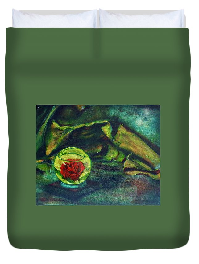 Oil Painting On Canvas Duvet Cover featuring the painting Preserved Rose . . Draped Canvas by Sean Connolly