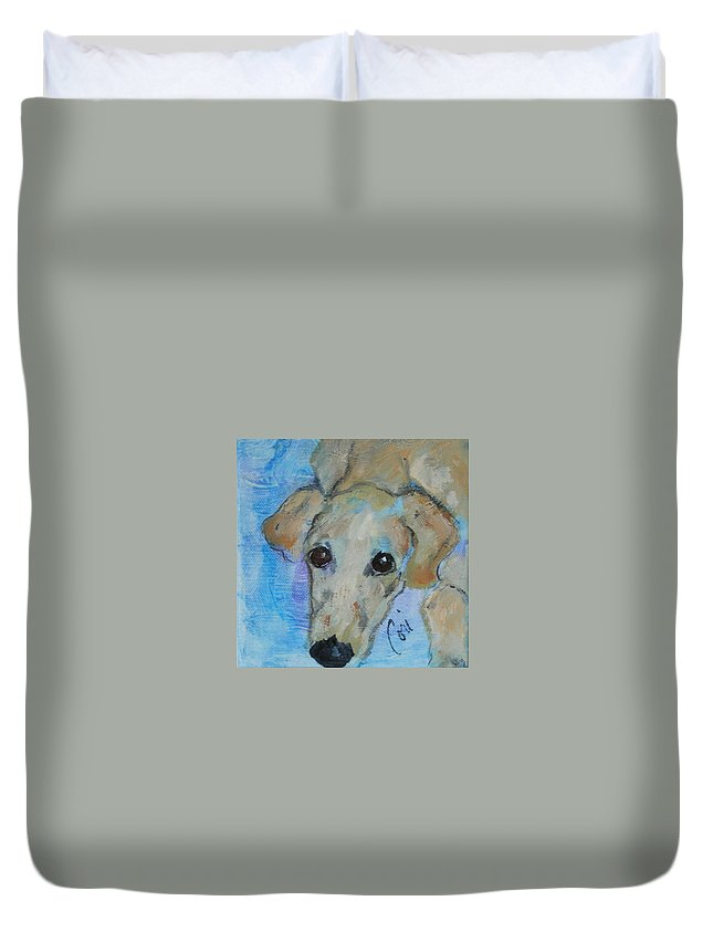 Acrylic Duvet Cover featuring the drawing Pupster by Cori Solomon