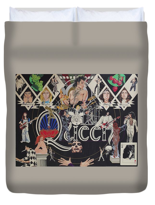 Queen Duvet Cover featuring the drawing Queen by Sean Connolly