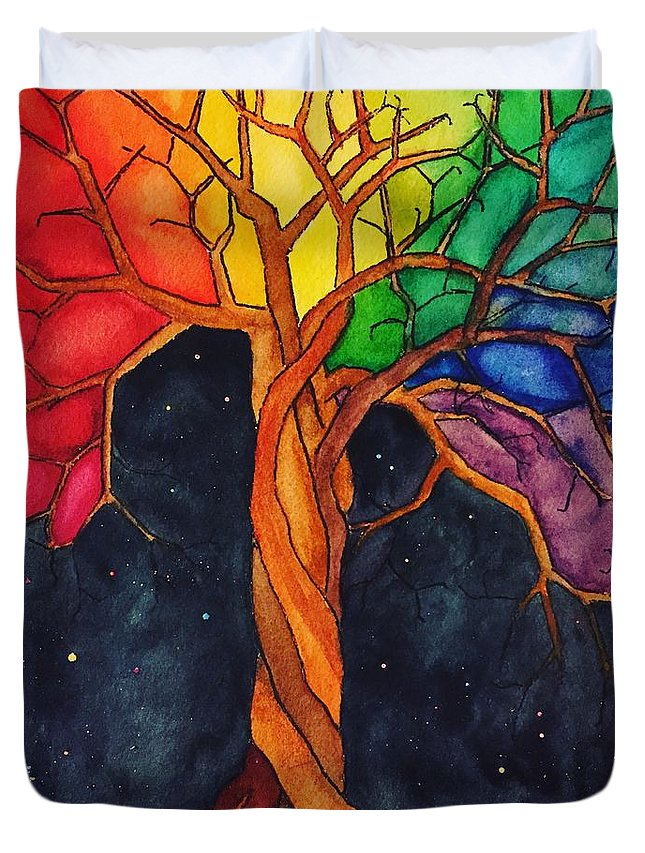 Rainbow Duvet Cover featuring the painting Rainbow Tree with Night Sky by Vonda Drees