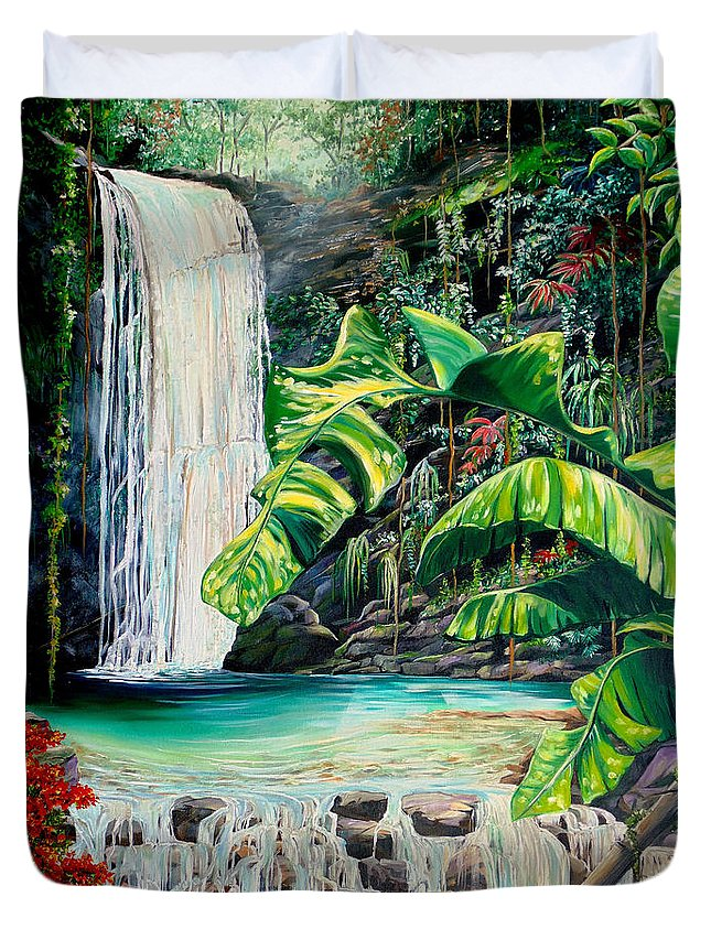 Water Fall Painting Landscape Painting Rain Forest Painting River Painting Caribbean Painting Original Oil Painting Paria Northern Mountains Of Trinidad Painting Tropical Painting Duvet Cover featuring the painting Rainforest Falls Trinidad.. by Karin Dawn Kelshall- Best