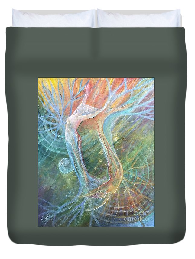 Painting Duvet Cover featuring the painting ReachingRooting by Kristine Izak