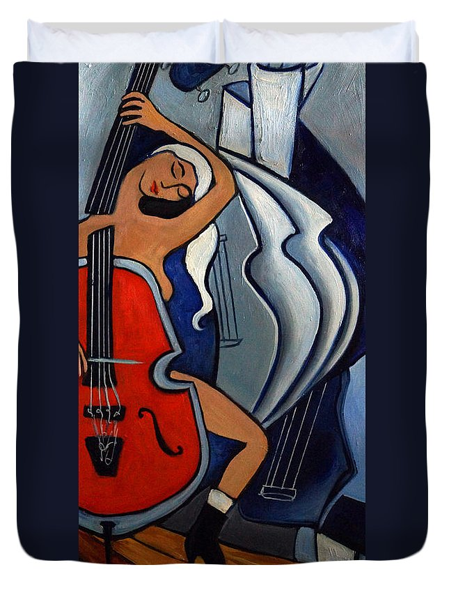 Cubic Abstract Duvet Cover featuring the painting Red Cello by Valerie Vescovi