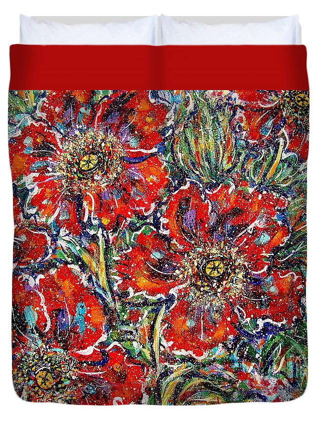 Flowers Duvet Cover featuring the painting Red Fantasy Poppies by Natalie Holland
