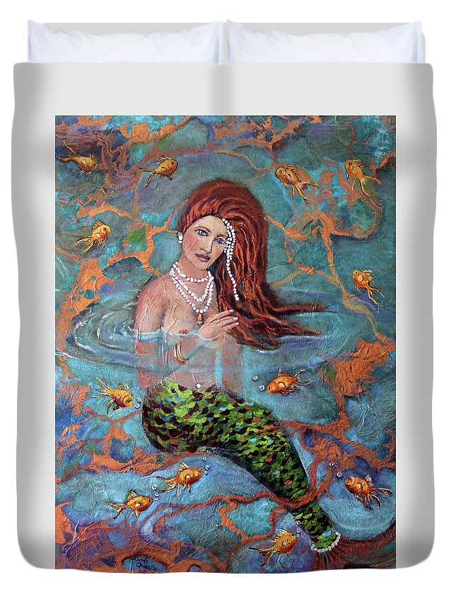 Blue Duvet Cover featuring the painting Red Headed Mermaid Ophelia Painting by Linda Queally by Linda Queally
