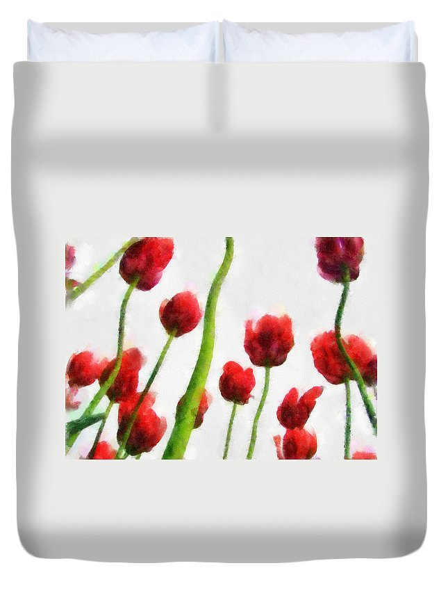 Hollander Duvet Cover featuring the photograph Red Tulips from the Bottom Up I by Michelle Calkins