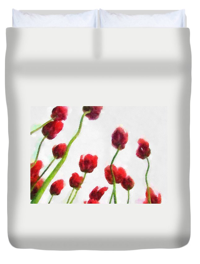 Hollander Duvet Cover featuring the photograph Red Tulips from the Bottom Up ll by Michelle Calkins