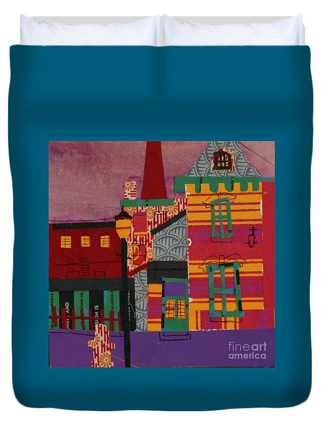 Lowell Duvet Cover featuring the mixed media Revolving Museum by Debra Bretton Robinson