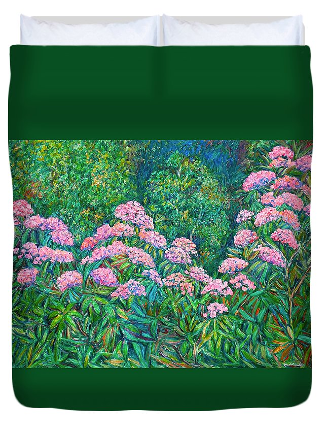 Floral Duvet Cover featuring the painting Rhododendron Near Black Rock Hill by Kendall Kessler