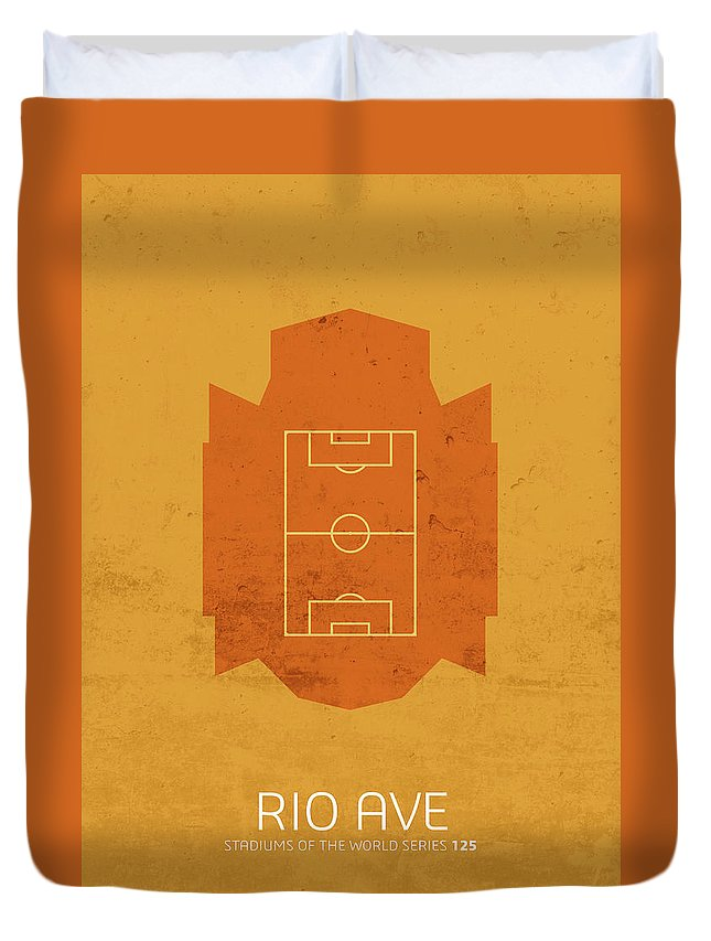 Rio Duvet Cover featuring the mixed media Rio Ave Stadium Football Soccer Minimalist Series by Design Turnpike