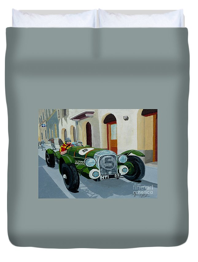 Car Duvet Cover featuring the painting Road Rally by Anthony Dunphy