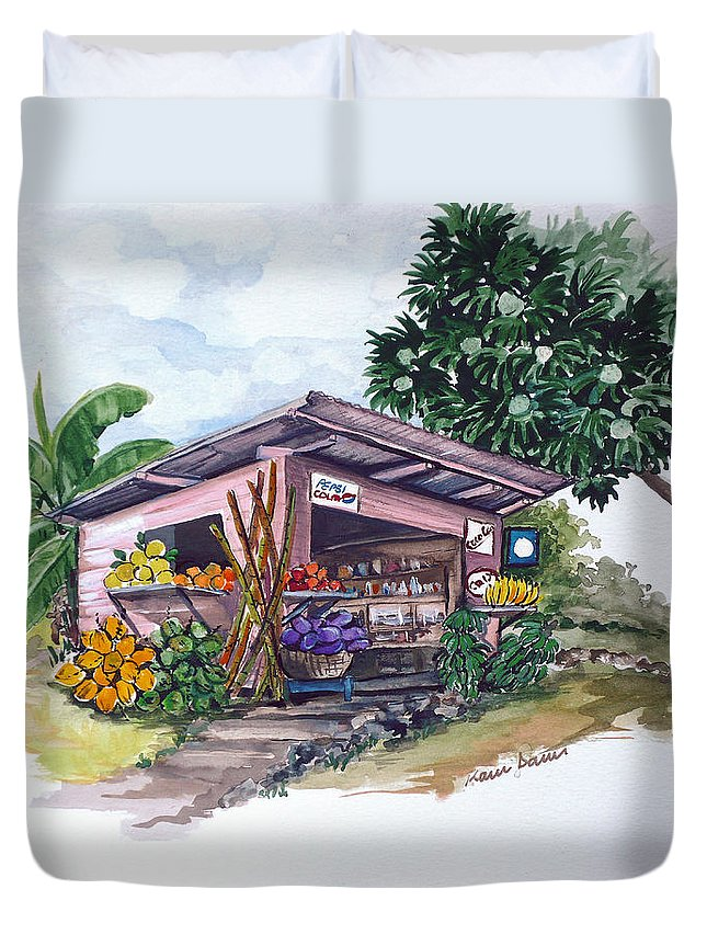 Caribbean Painting Little Shop Fruit & Veg Shop Painting Caribbean Tropical Painting Greeting Card Painting Duvet Cover featuring the painting Roadside Vendor by Karin Dawn Kelshall- Best