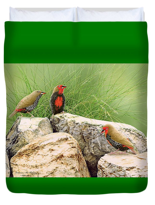 Bird Duvet Cover featuring the painting Rock Stars - Painted Finches by Frances McMahon