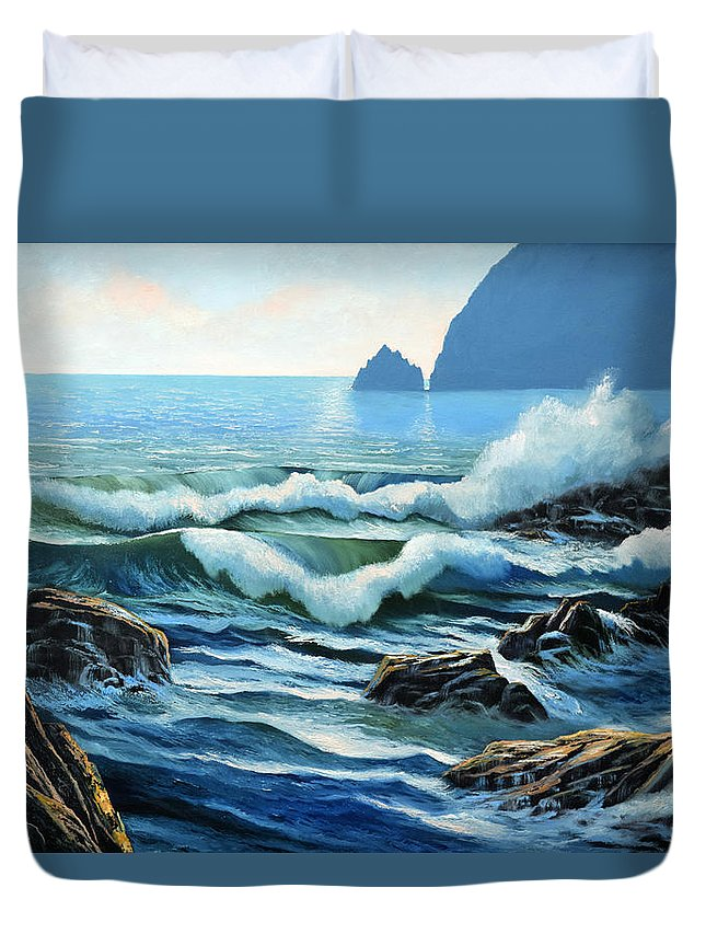 Rolling Breakers Duvet Cover featuring the painting Rolling Breakers by Frank Wilson