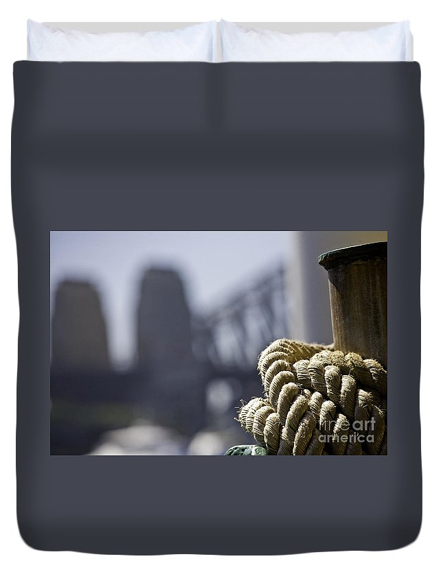Sydney Harbour Duvet Cover featuring the photograph Ropes with Harbour backdrop by Sheila Smart Fine Art Photography