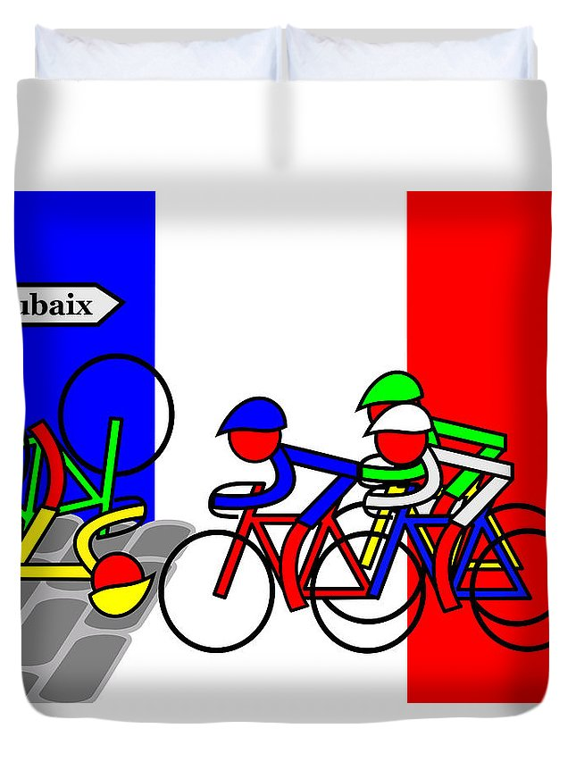 Roubaix Duvet Cover featuring the mixed media Roubaix by Asbjorn Lonvig