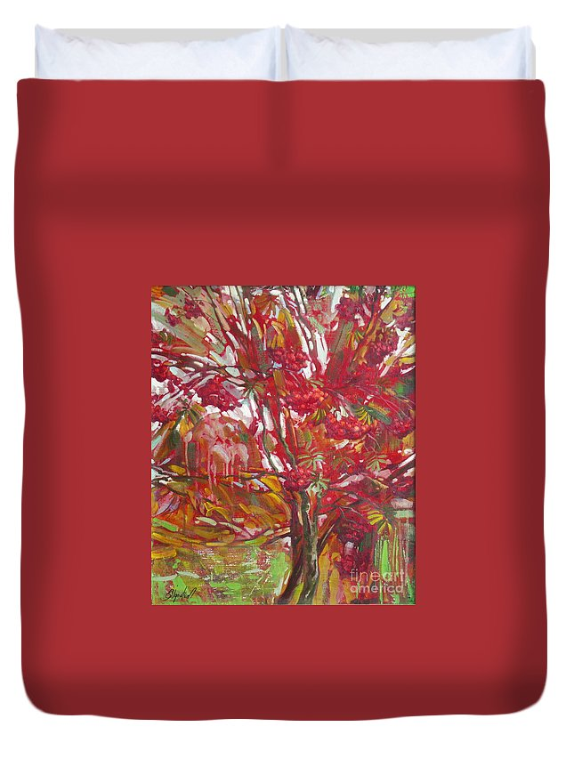 Oil Duvet Cover featuring the painting Rowan tree by Sergey Ignatenko