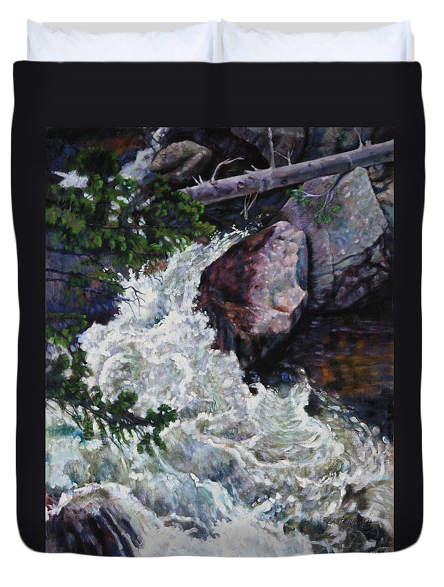 Waterfall Duvet Cover featuring the painting Rushing Stream Colorado by John Lautermilch