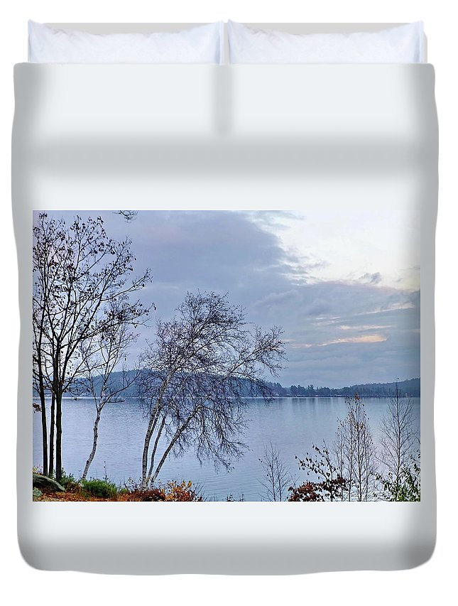 Fall Duvet Cover featuring the photograph Sad Autumn Evening by Lyuba Filatova