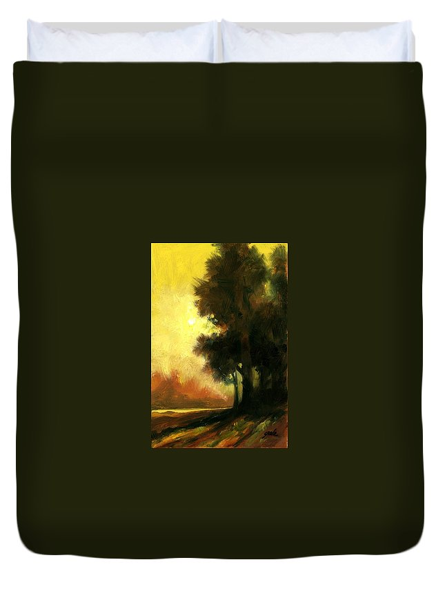 Landscape Duvet Cover featuring the painting Sailors Delight by Jim Gola