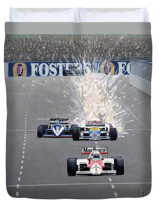 Formula One Duvet Cover featuring the painting Salute by Oleg Konin