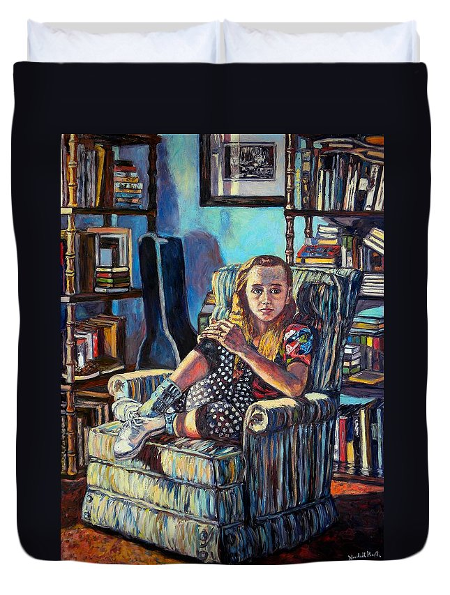 Figure Duvet Cover featuring the painting Samantha by Kendall Kessler