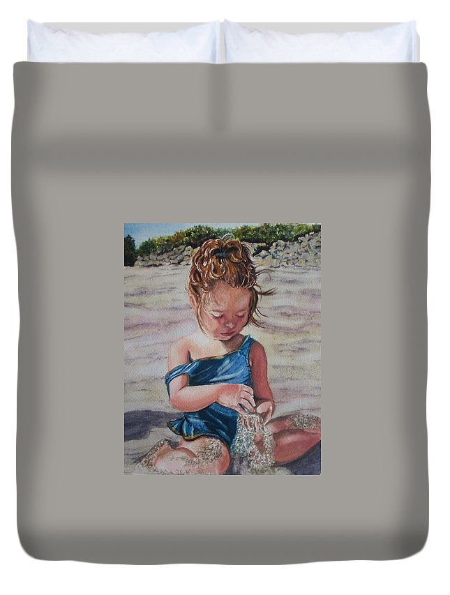 Beach Duvet Cover featuring the painting Sand by Karen Ilari