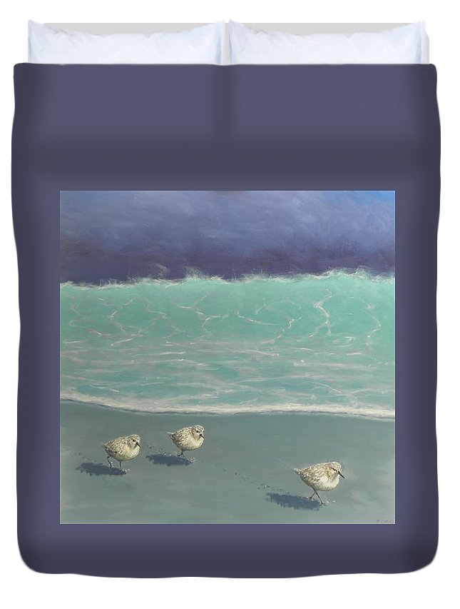 Sandpipers Duvet Cover featuring the painting Sandpipers by Paul Emig