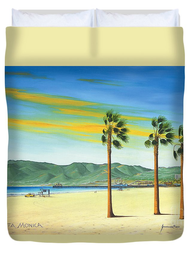 Santa Monica Duvet Cover featuring the painting Santa Monica by Jerome Stumphauzer