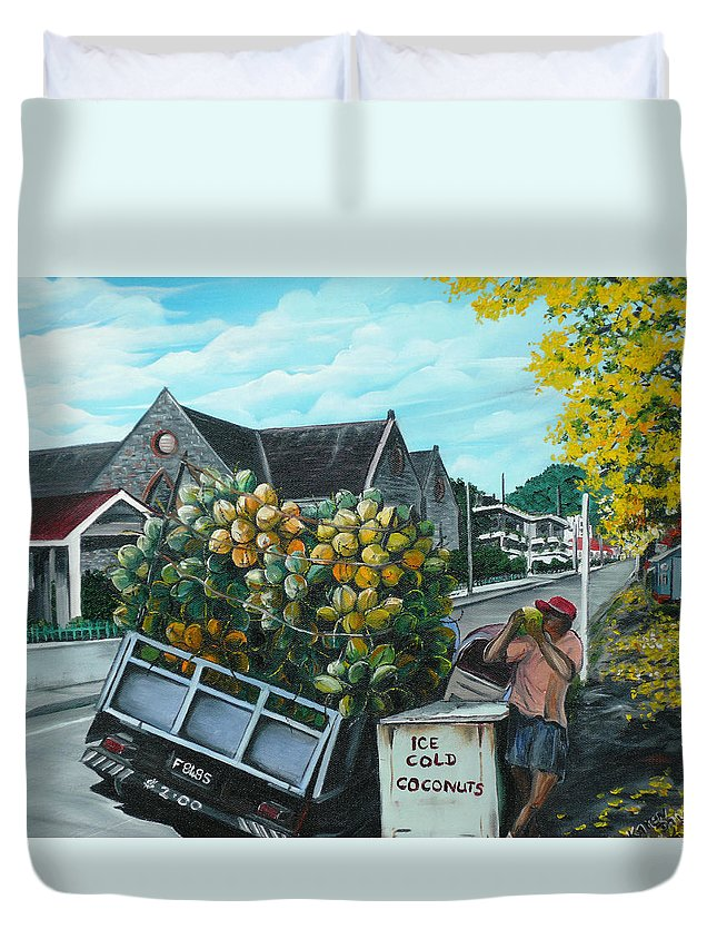 Caribbean Painting Coconuts Vendor Trinidad And Tobago Painting Savannah Paintings  Poui Tree Painting Tropical Painting Duvet Cover featuring the painting Savannah Coconut Vendor by Karin Dawn Kelshall- Best
