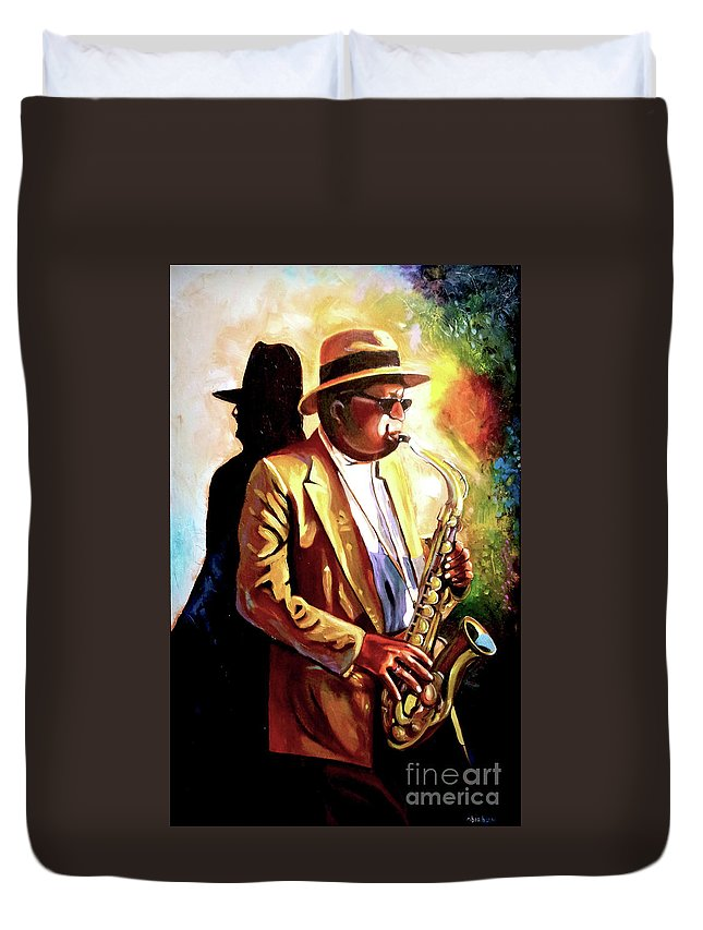 Sax Duvet Cover featuring the painting Sax Player by Jose Manuel Abraham
