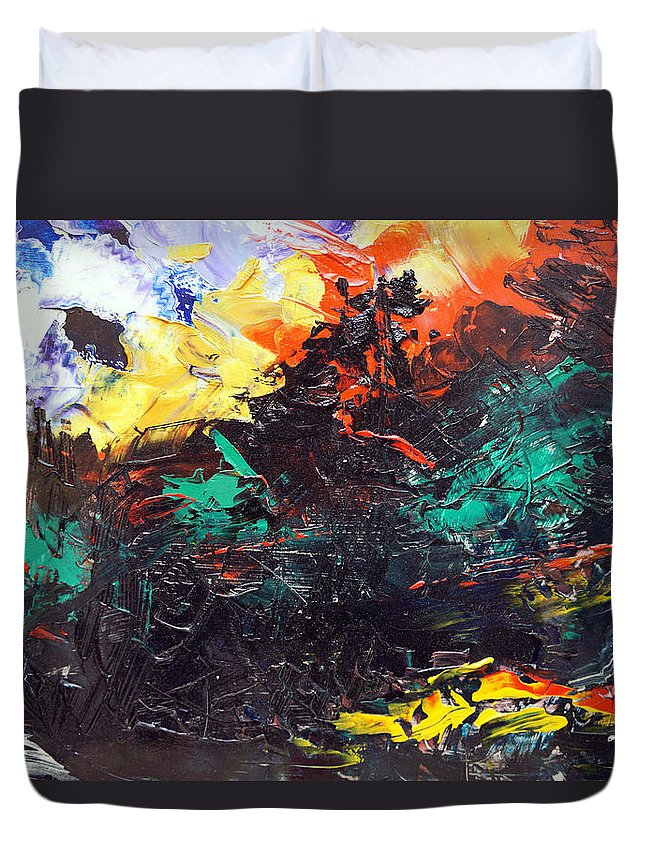 Vision Duvet Cover featuring the painting Schizophrenia by Sergey Bezhinets