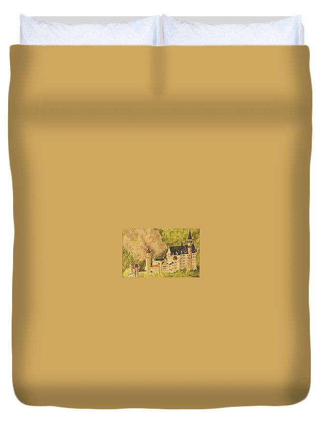 Travel Duvet Cover featuring the painting Schloss Neuschwanstein by Mary Ellen Mueller Legault
