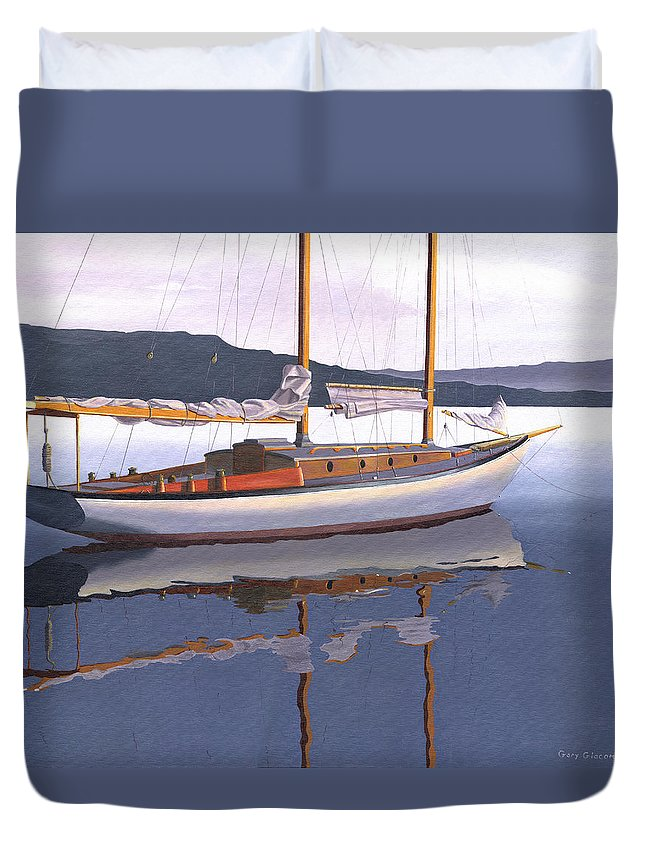 Schooner Duvet Cover featuring the painting Schooner at dusk by Gary Giacomelli
