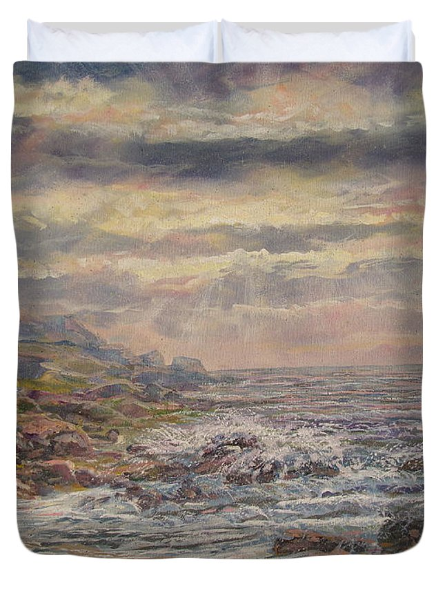 Landscape Duvet Cover featuring the painting Seascape With Clouds. by Leonard Holland