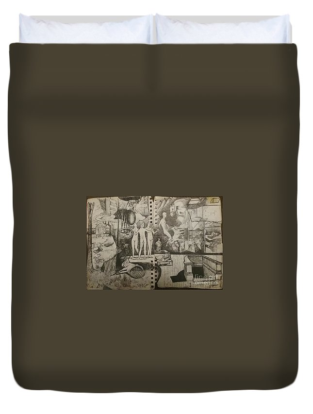 Orions Belt Duvet Cover featuring the drawing Second half of sketch for, Time immutable, OrionsBelt, and the New Madrid Straight by Jude Darrien