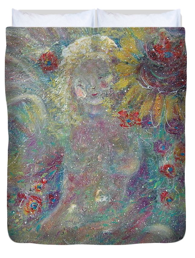 Angels Duvet Cover featuring the painting Secret Garden Angel 1 by Natalie Holland