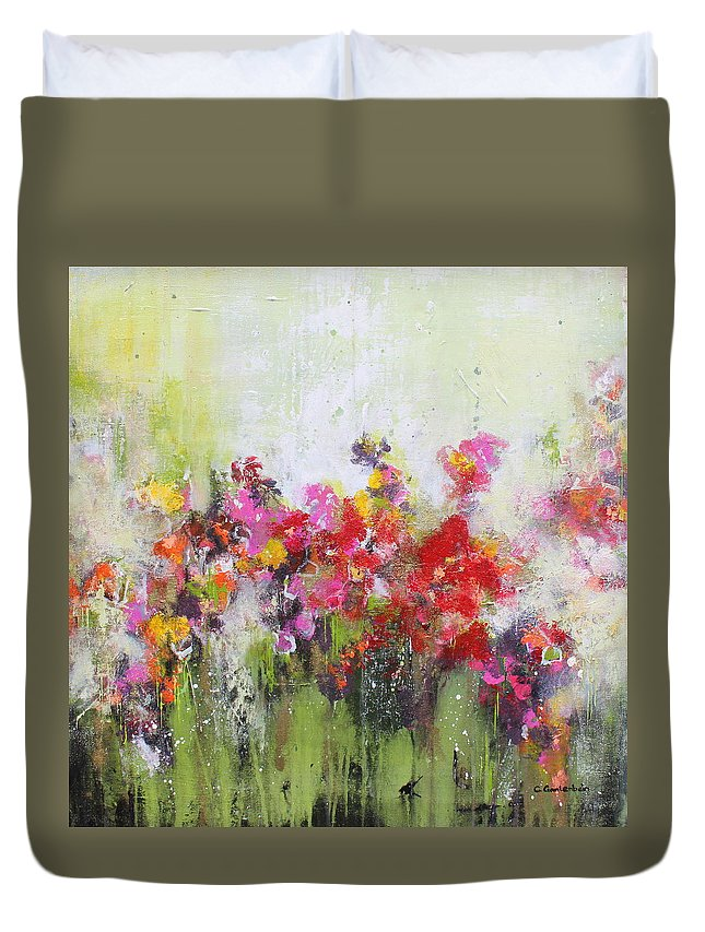 Flowers Duvet Cover featuring the mixed media Seeds of love by Claudia Gantenbein