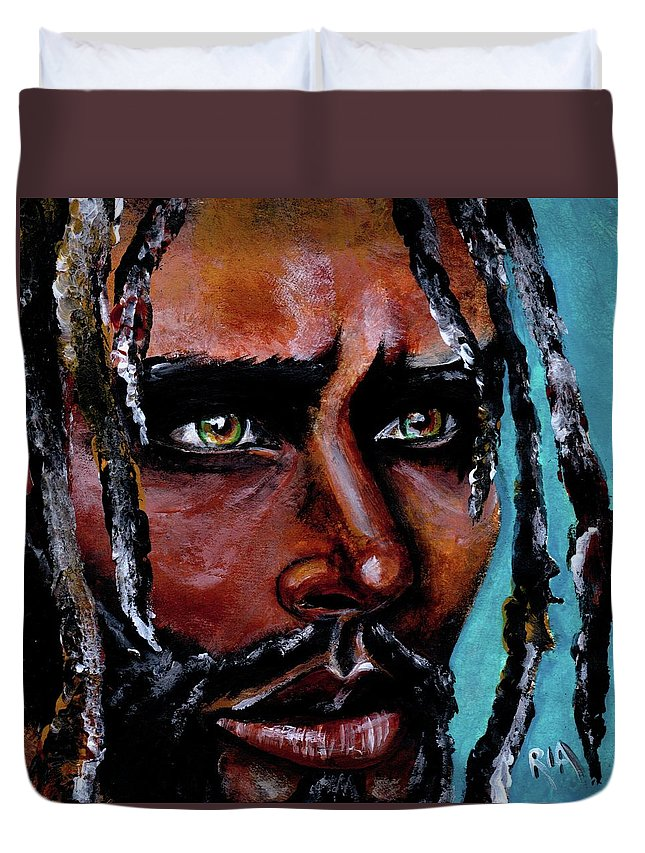 Eyes Duvet Cover featuring the painting Selfless Life by Artist RiA