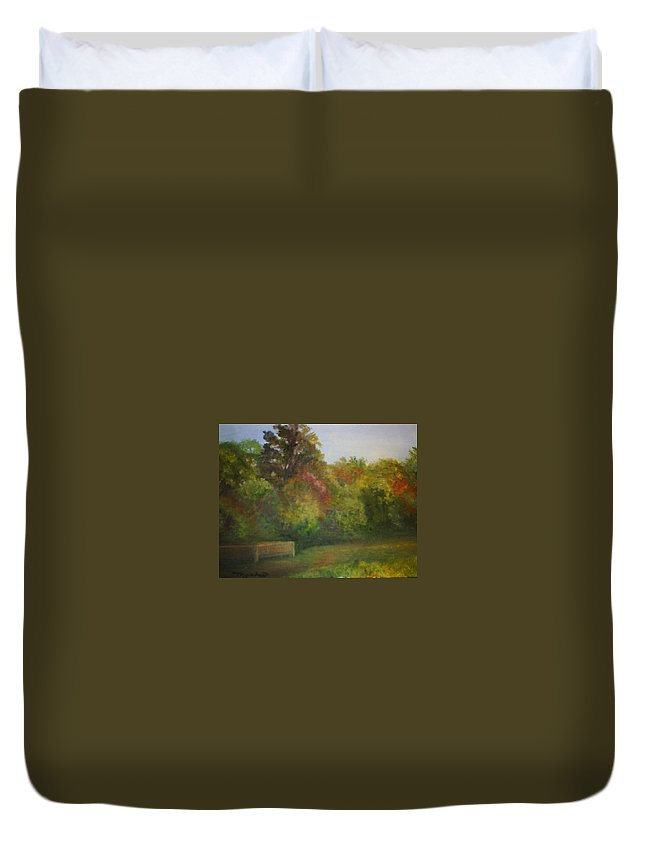 September Duvet Cover featuring the painting September in Smithville Park by Sheila Mashaw