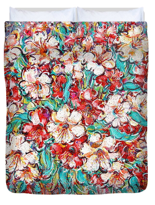 Flowers Duvet Cover featuring the painting Shakespeare Scents by Natalie Holland