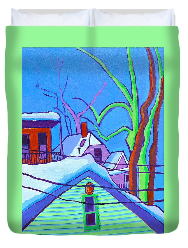 Buildings Duvet Cover featuring the painting Sheffield Winter by Debra Bretton Robinson