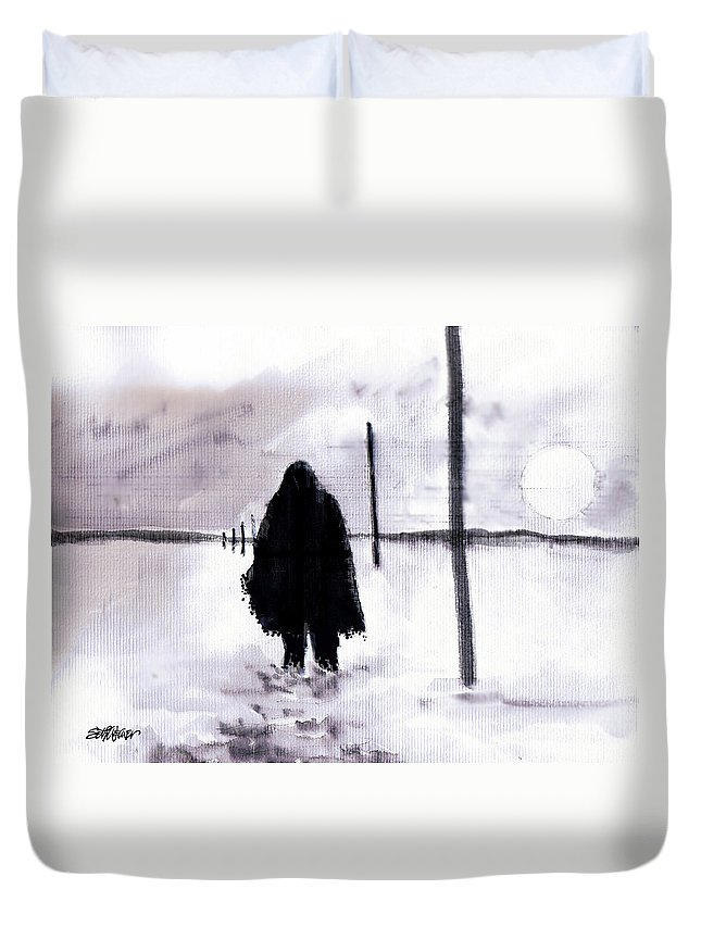 Siberia Duvet Cover featuring the drawing Siberian Stroll-Dr. Zhivago by Seth Weaver