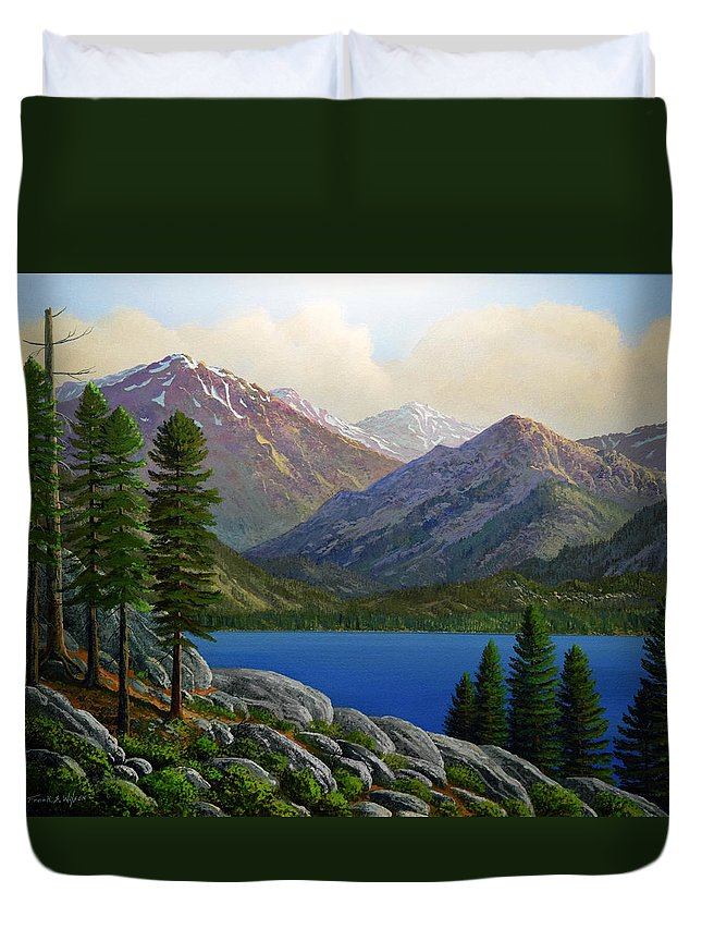 Landscape Duvet Cover featuring the painting Sierra Views by Frank Wilson