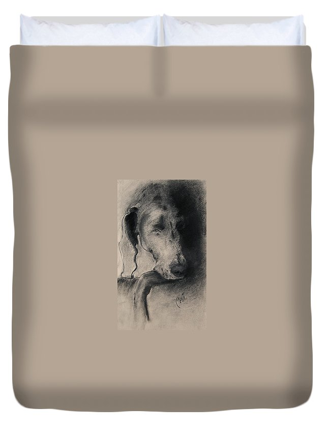 Weimaraner Duvet Cover featuring the drawing Silhouette by Cori Solomon