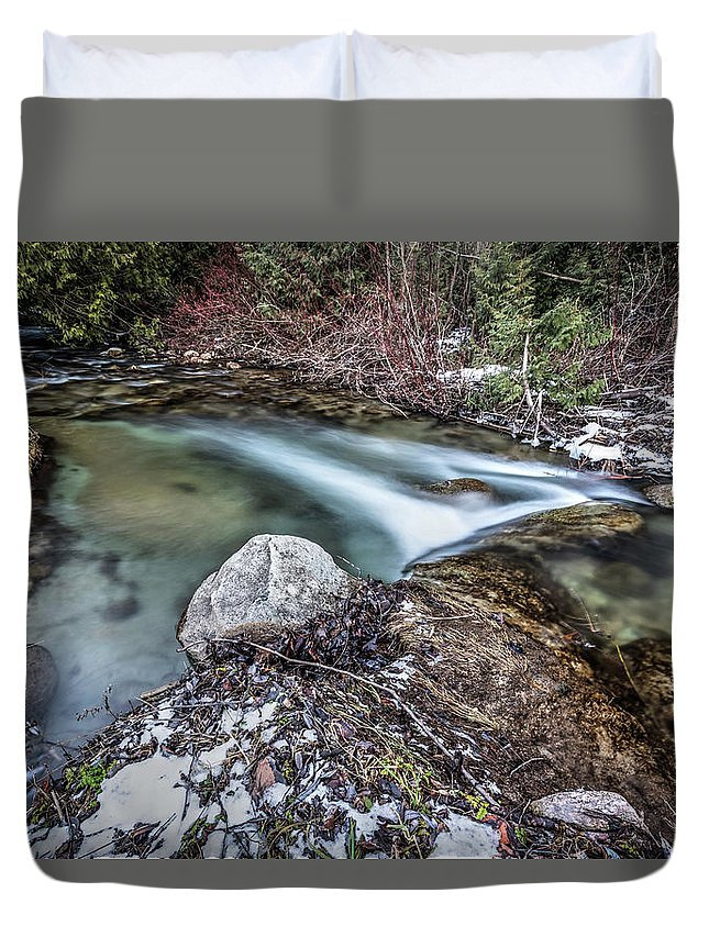 Creek Duvet Cover featuring the photograph Silver Creek in Winter by Eden Watt