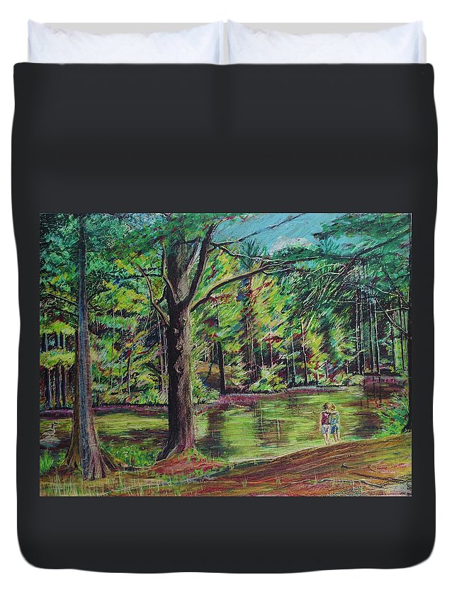 Family Duvet Cover featuring the pastel Sisters At Wason Pond by Sean Connolly
