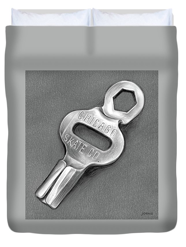 Childhood Duvet Cover featuring the drawing Skate Key - Pencil by Greg Joens