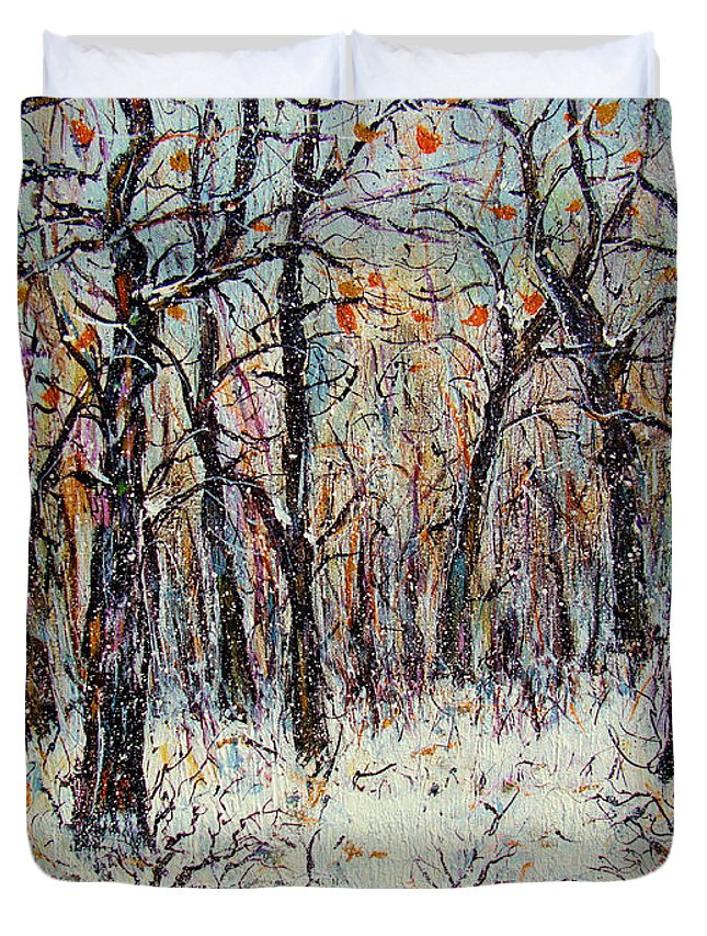 Landscape Duvet Cover featuring the painting Snowing In The Forest by Natalie Holland